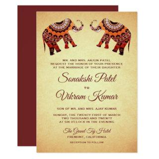Ethnic Mandala Elephants Indian Wedding Invitation