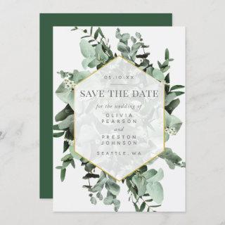 Eucalyptus and Greenery Watercolor Save the Date Invitations