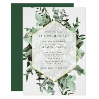 Eucalyptus and Greenery Watercolor Wedding Invitations