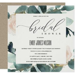 EUCALYPTUS BLUSH ROSE SOFT KRAFT BRIDAL SHOWER Invitations