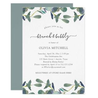 Eucalyptus Crest | Green Leaves Brunch and Bubbly Invitations