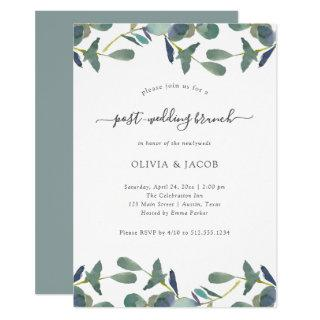 Eucalyptus Crest Green Leaves Post Wedding Brunch Invitations