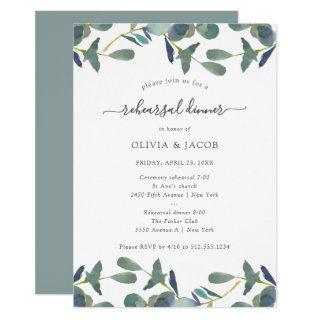 Eucalyptus Crest | Green Leaves Rehearsal Dinner Invitation