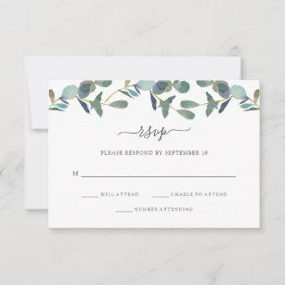 Eucalyptus Crest | Trendy Wedding RSVP Card