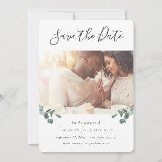 Eucalyptus Crest | Watercolor Photo Save The Date