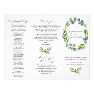 Eucalyptus Foliage Wreath Tri+Fold Wedding Program
