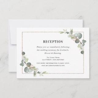 eucalyptus geometric wedding reception card