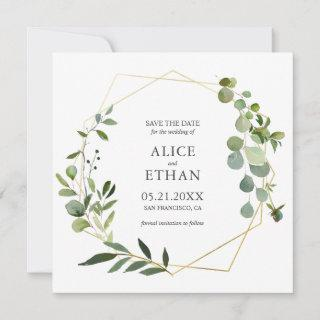Eucalyptus Geometric Wreath Save The Date