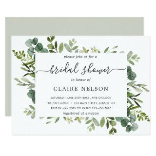 Eucalyptus Green Foliage Bridal Shower Invitation