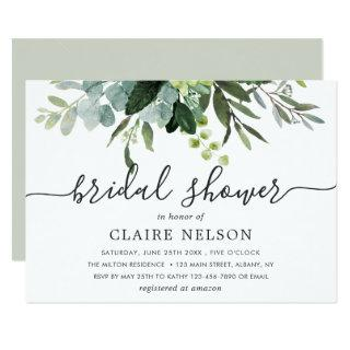 Eucalyptus Green Foliage Bridal Shower Invitations