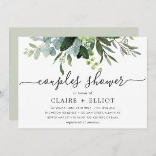 Eucalyptus Green Foliage Couples Shower Invitations