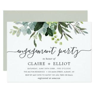 Eucalyptus Green Foliage Engagement Party Invitations