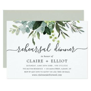Eucalyptus Green Foliage Rehearsal Dinner Invitations