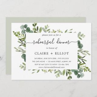 Eucalyptus Green Foliage Rehearsal Dinner Invitation