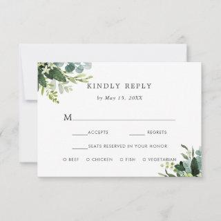 Eucalyptus Green Foliage RSVP with Meal Choice