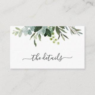 Eucalyptus Green Foliage Wedding Details Enclosure Card