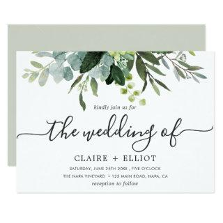 Eucalyptus Green Foliage Wedding Invitations