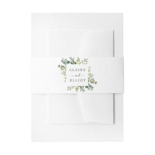 Eucalyptus Green Foliage Wedding Invitations Belly Band