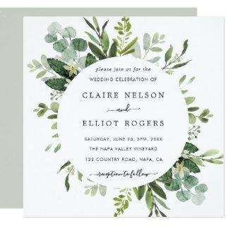 Eucalyptus Green Foliage Wedding Square Invitations