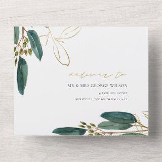 EUCALYPTUS GREEN GOLD FOLIAGE WATERCOLOR WEDDING A ALL IN ONE