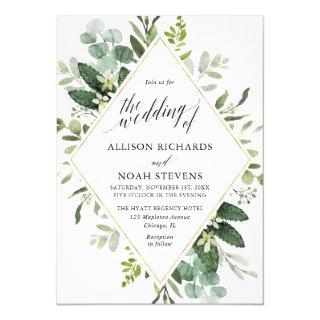 Eucalyptus green gold geometric modern wedding Invitations