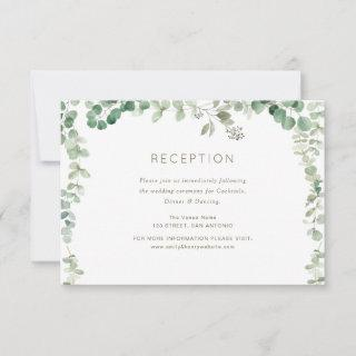 eucalyptus green wedding reception card