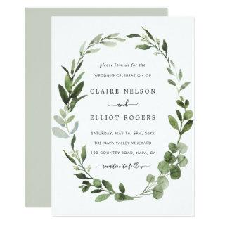 Eucalyptus Green Wreath Wedding Invitation