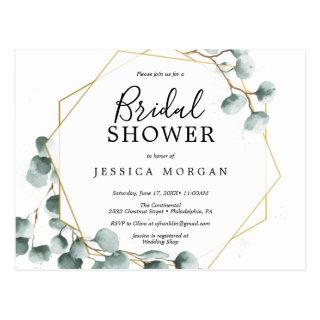 Eucalyptus Greenery Bridal Shower Invitation Postcard