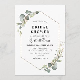 Eucalyptus greenery geometric bridal shower invitation