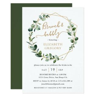 Eucalyptus Greenery Geometric Brunch and Bubbly Invitations