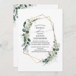 Eucalyptus Greenery Geometric Modern Bridal Shower Invitation