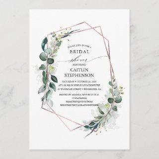 Eucalyptus Greenery Geometric Modern Bridal Shower Invitations