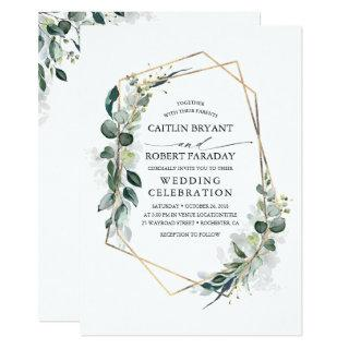 Eucalyptus Greenery Geometric Modern Wedding Invitations
