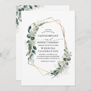 Eucalyptus Greenery Geometric Modern Wedding Invitation