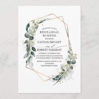 Eucalyptus Greenery Geometric Rehearsal Dinner Invitations