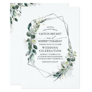 Eucalyptus Greenery Geometric Silver Frame Wedding Invitations