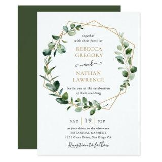 Eucalyptus Greenery Gold Geometric Frame Wedding Invitations