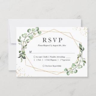 Eucalyptus Greenery Gold Geometric Frame Wedding RSVP Card