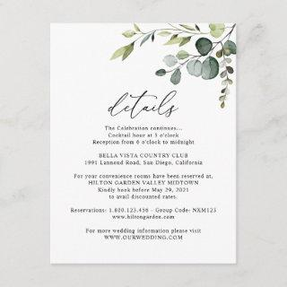 Eucalyptus Greenery Guest Information Details Enclosure Card