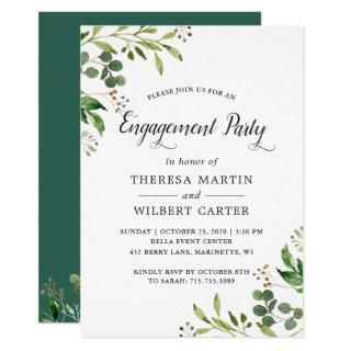 Eucalyptus Greenery Leaves Chic Engagement Party Invitations