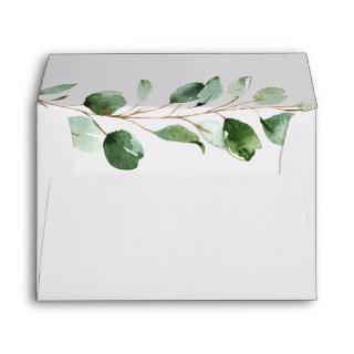 Eucalyptus Greenery Return Address 5x7 White Envelope