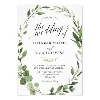 Eucalyptus greenery simple elegant wedding Invitations