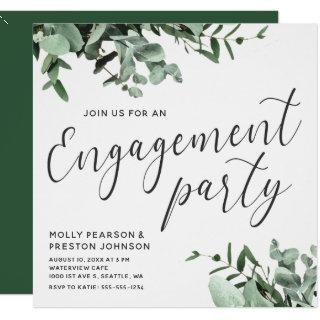 Eucalyptus Greenery Watercolor Engagement Party Invitations