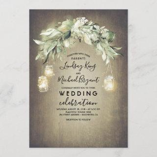 Eucalyptus Leaves Greenery Rustic Country Wedding Invitations