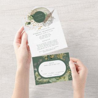 Eucalyptus   Modern Abstract FUnKy Wreath Wedding All In One Invitation