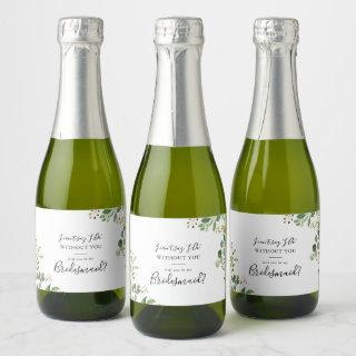 Eucalyptus Simple Brown Floral Bridesmaid Proposal Champagne Label