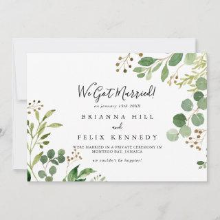 Eucalyptus Simple Brown Floral Elopement Announcement