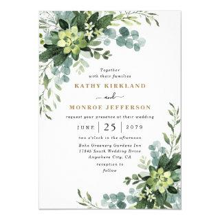 Eucalyptus Succulent Elegant Boho Greenery Wedding Invitations