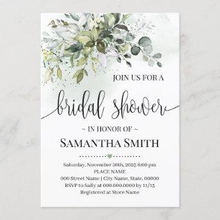 Eucalyptus succulent greenery bridal shower Invitations