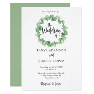 Eucalyptus Wedding Elegant Wreath Lettering leaf Invitations